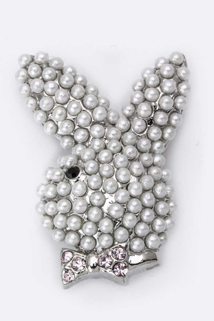 Crystal & Pearl Pave Bunny Brooch