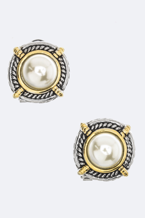 Pearl Omega Back Earrings