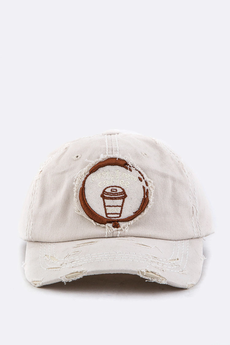 First, I Need Coffee Embroidery Cotton Cap