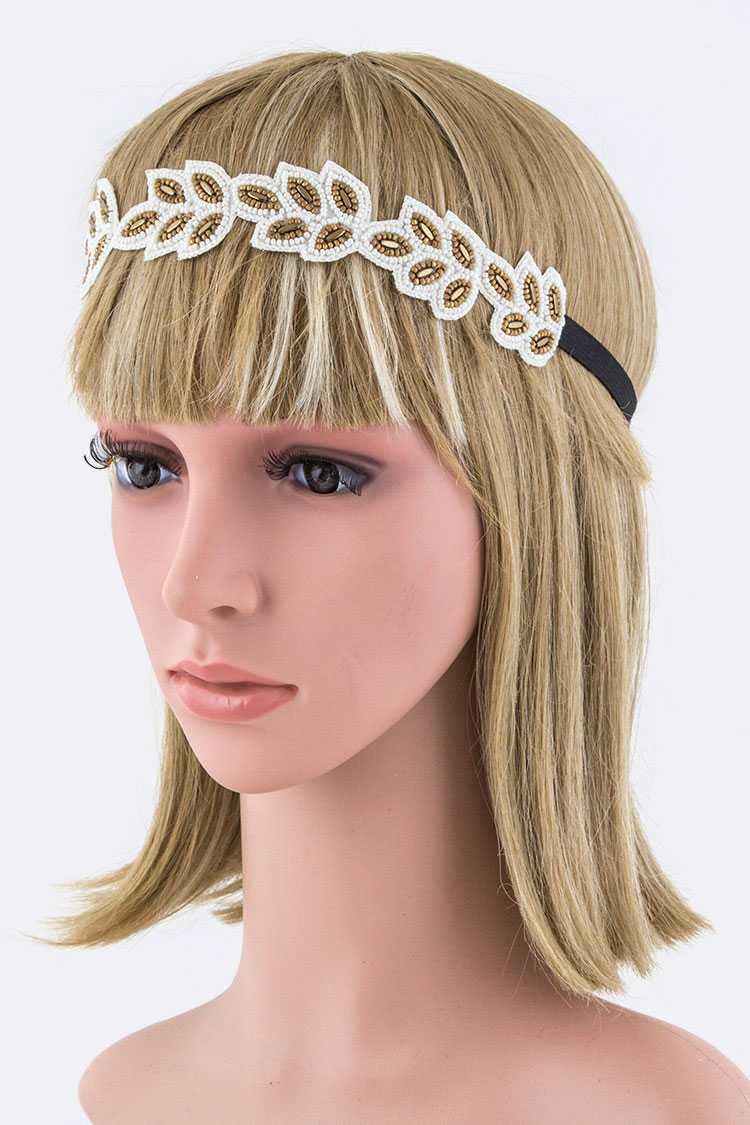 Beads Leaf Stretch Headband