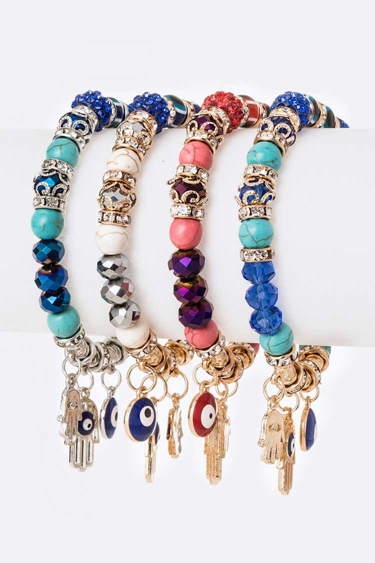 Evil Eye Mix Charm Stretch Bracelet Set