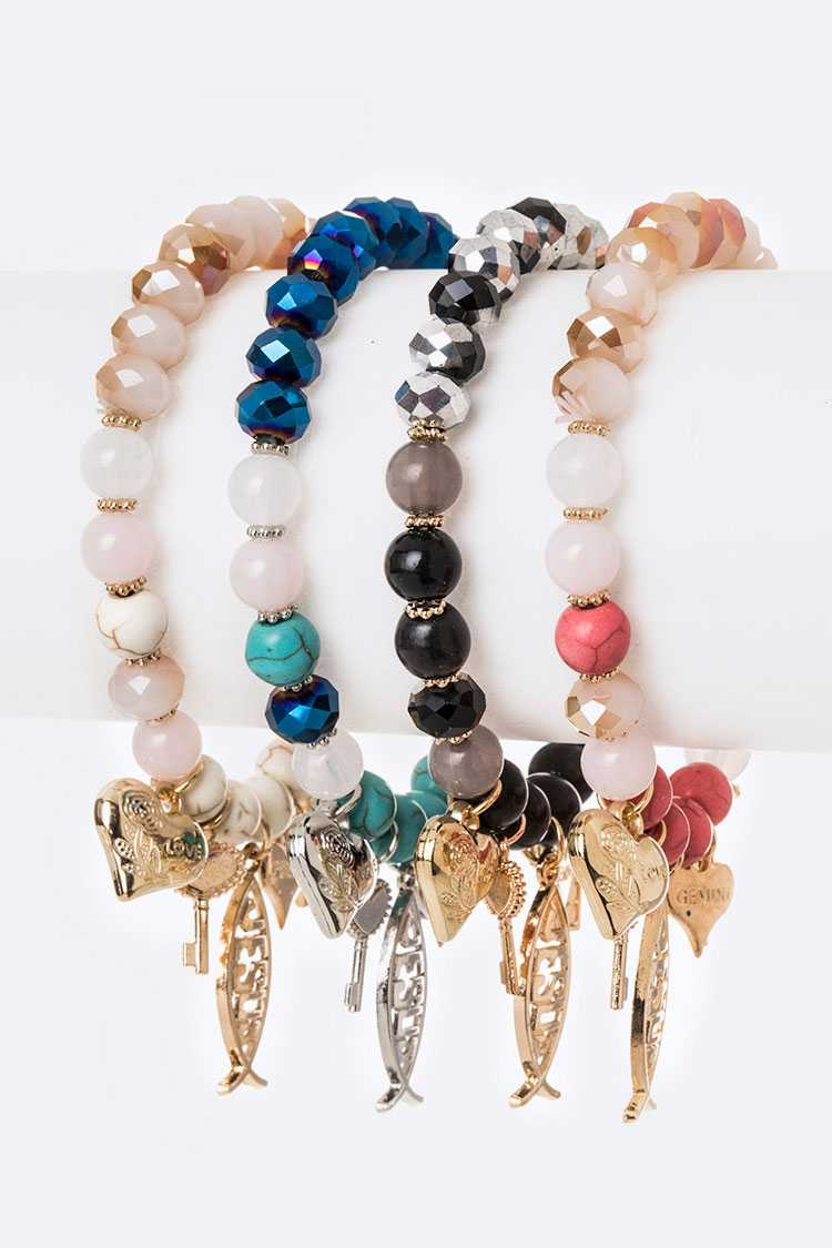 Fish Charm Religious Mix Beads Stretch Bracelet Set