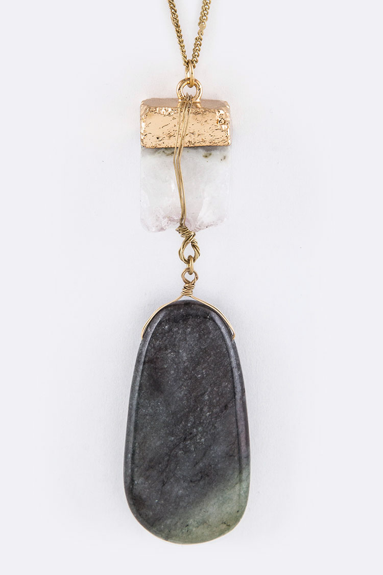 Gold Painted Quartz Iconic Stone Pendant Necklace