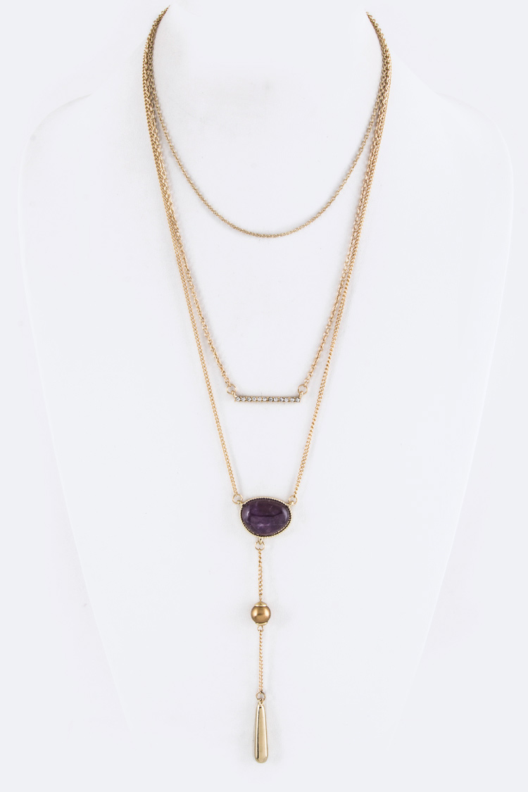 Pearl & Bar Drop Layer Necklace