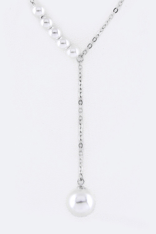 Sterling Silver Pearl Drop Necklace