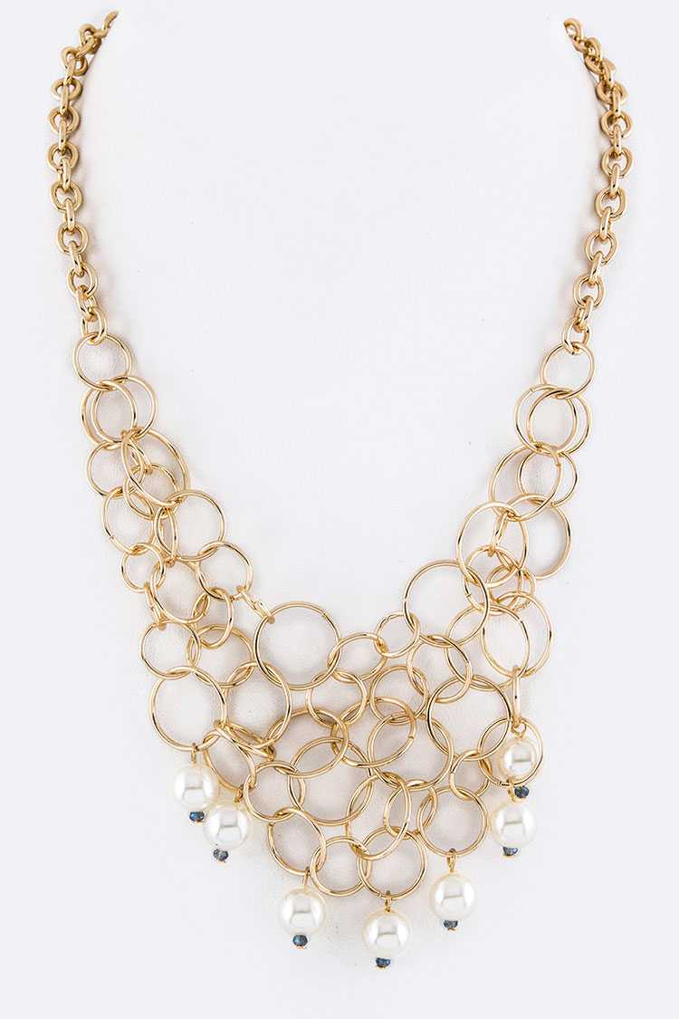 Mix Hoops Pearl Drop Iconic Necklace