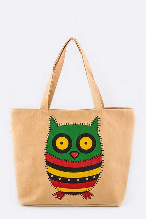 Comic Owl Fashion Cotton Tote