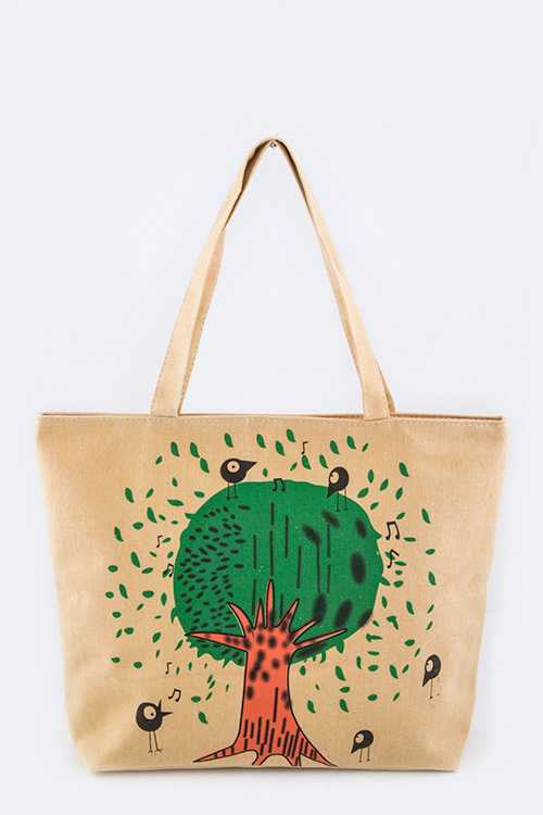 Comic Birds Printed Fashion Canvas Tote