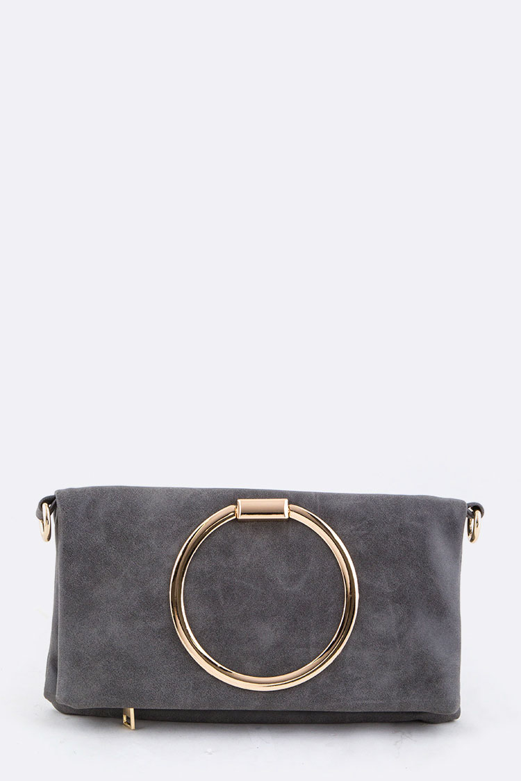 Large Metal Ring Folding Clutch