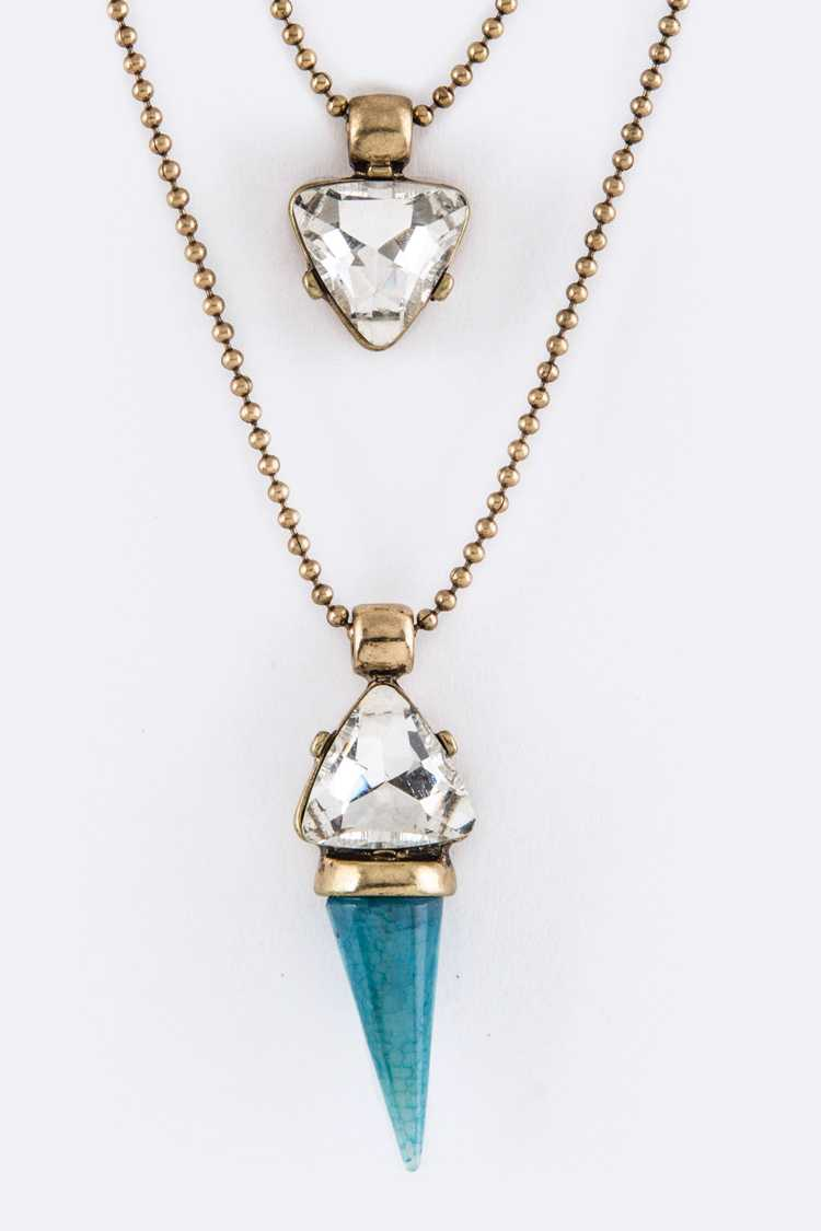 Crystal & Semi Precious Horn Pendant Layer Necklace