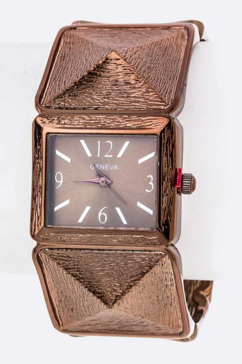 Textured Pyramids Bangle Watch