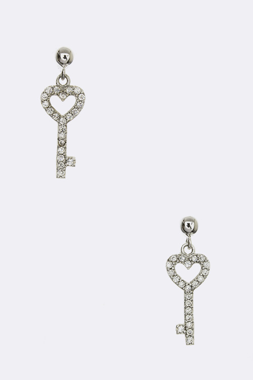 CZ Heart Key Earrings