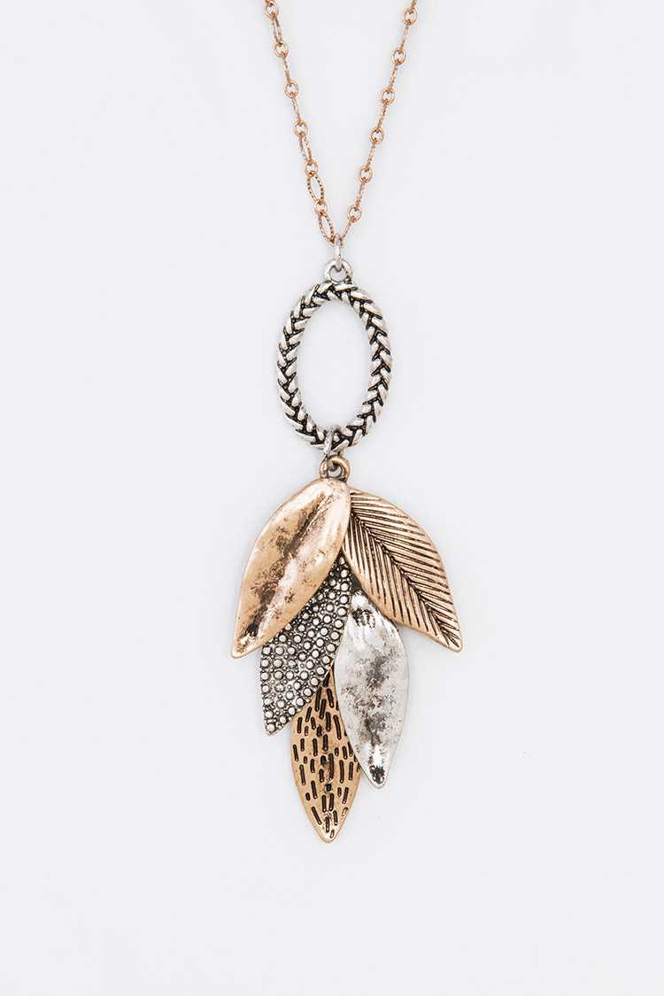 Mix Textured Leaf Pendant Necklace Set