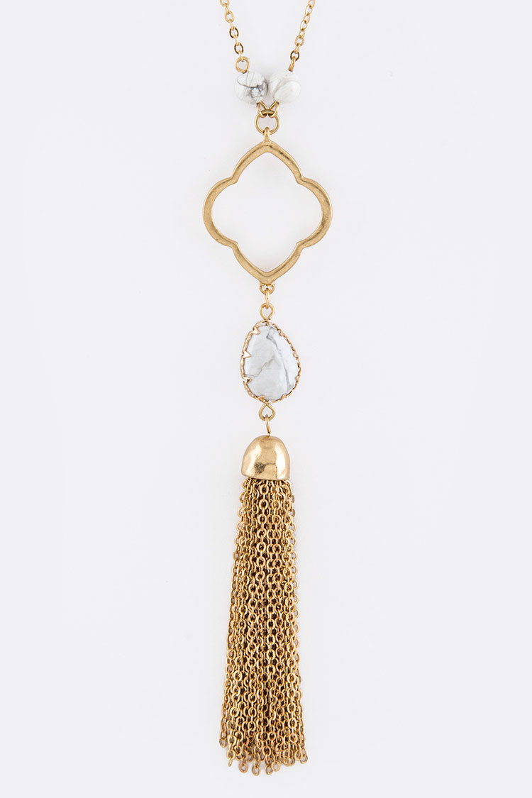Cutout Clover Stone Beads Station Long Pendant Necklace