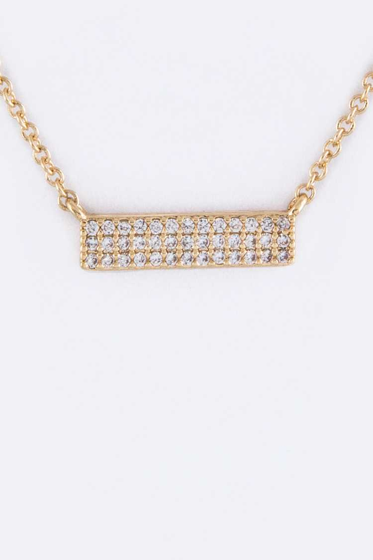 Micro Pave CZ Tag Necklace