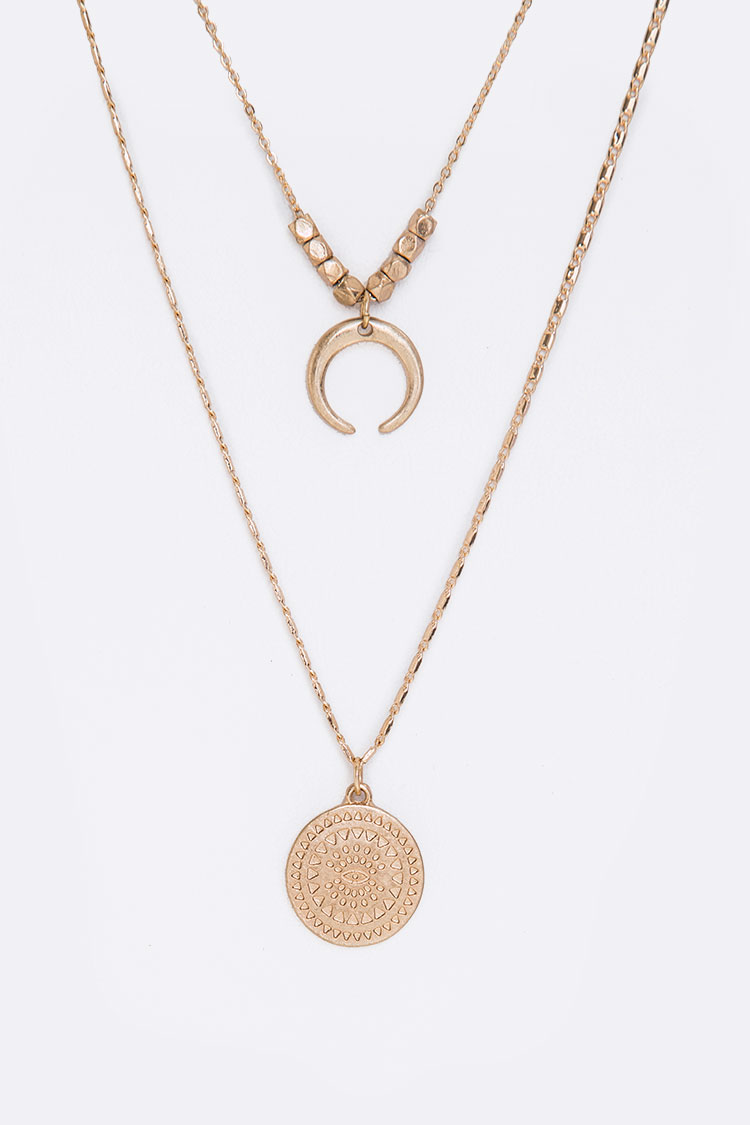 Horn & Eye Medallion Layered Necklace