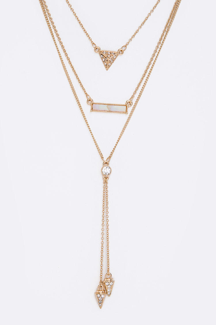 Crystal Geo Layered Double Arrow Drop Necklace Set