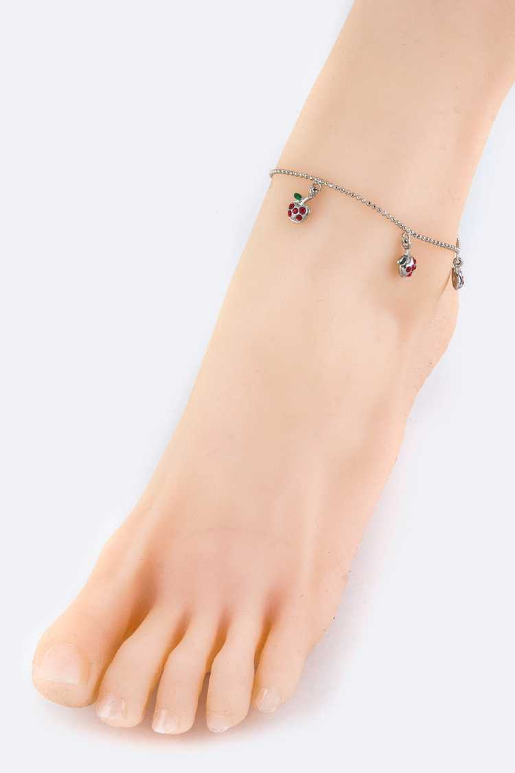 Austrian Crystal Apple Drop Anklet
