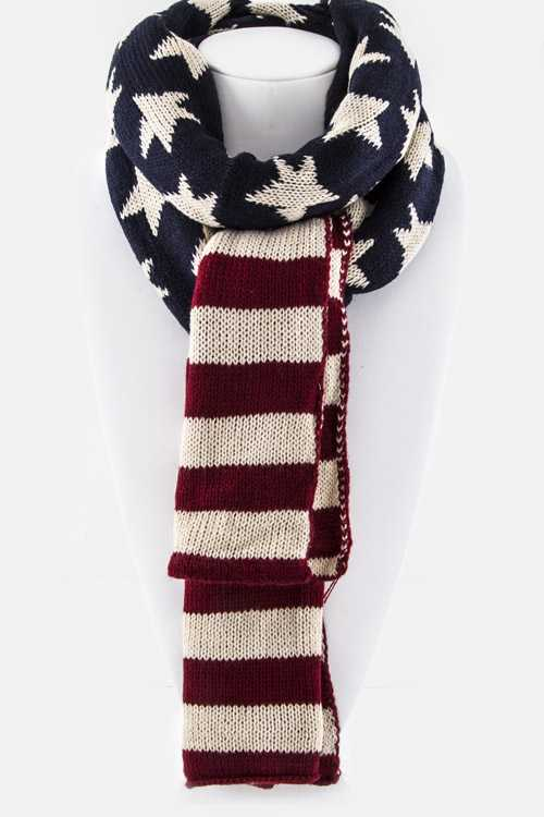 US Flag Knit Scarf