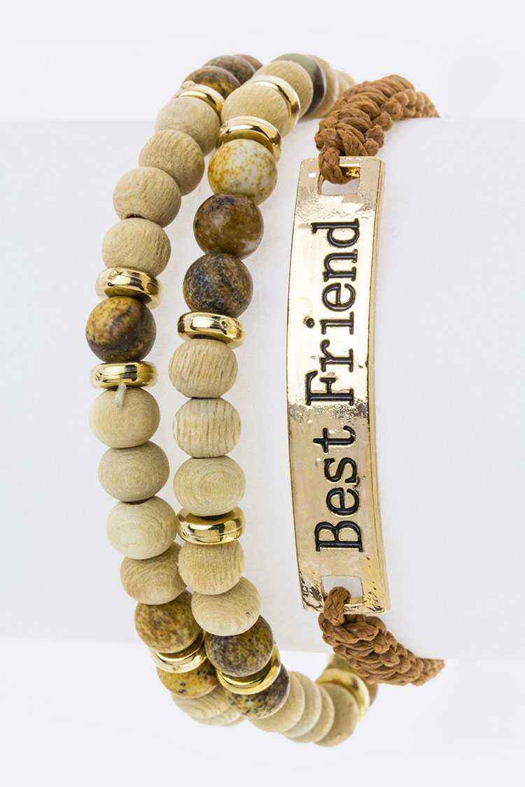 Best Friend Tag & Wooden Beads Bracelets Set