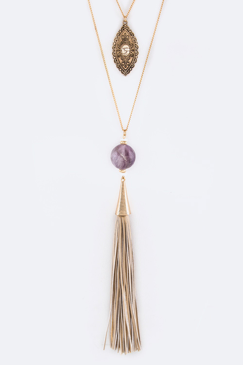 Precious Stone & Suede Tassel Layer Necklace Set