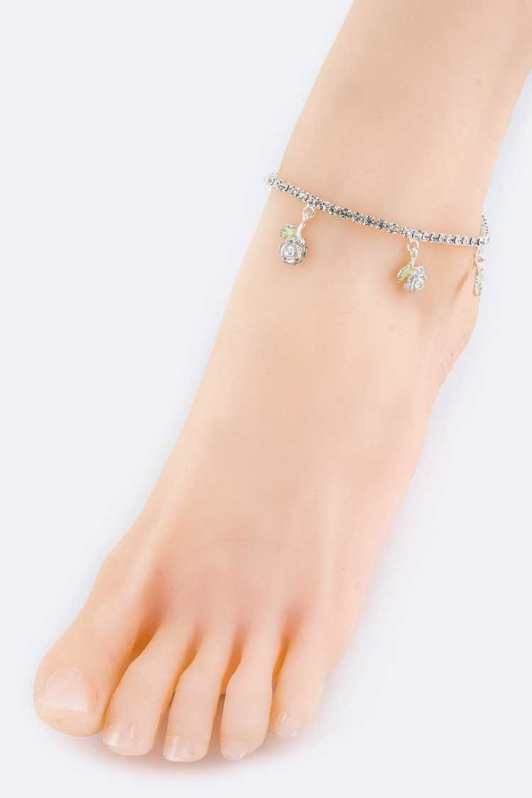 Crystal Rosa Drop Fashion Stretch Anklet
