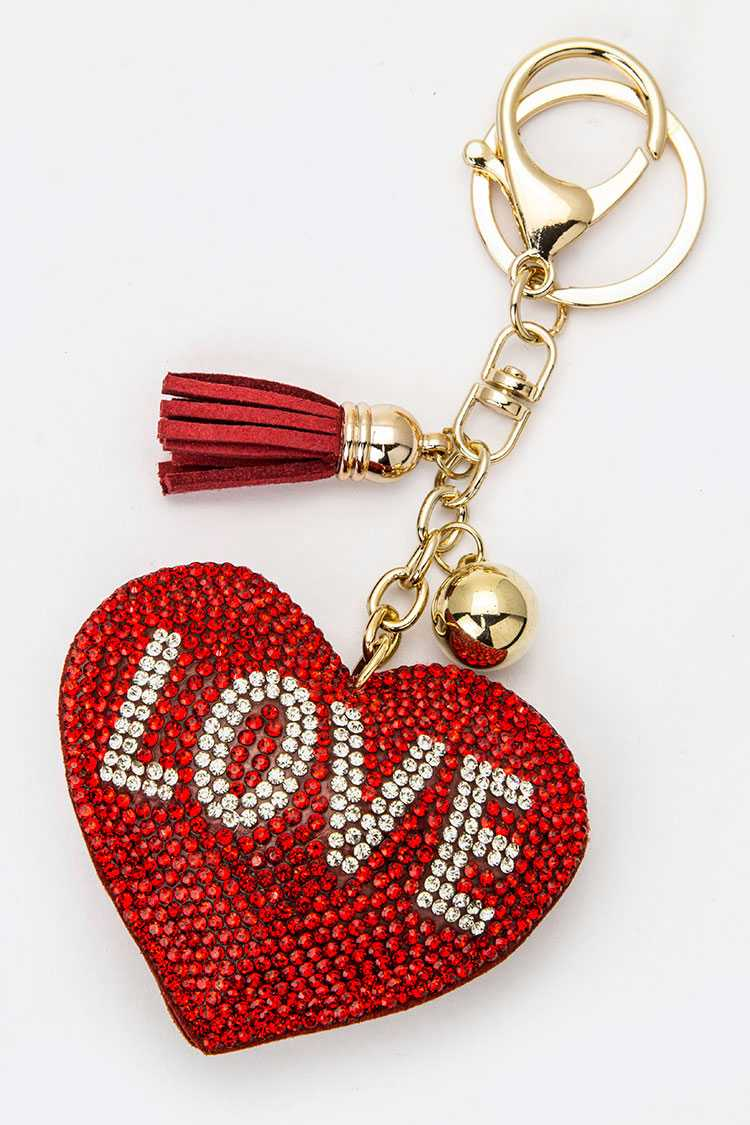Crystal LOVE Heart Key Charm
