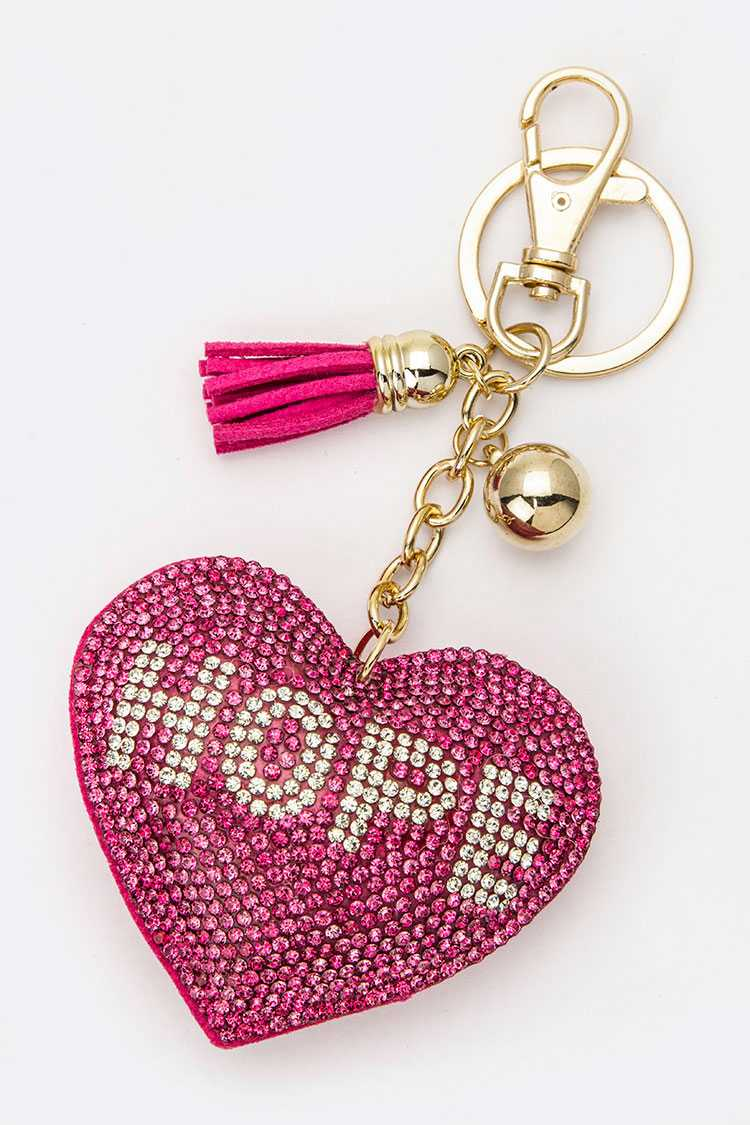 Crystal HOPE Heart Key Charm