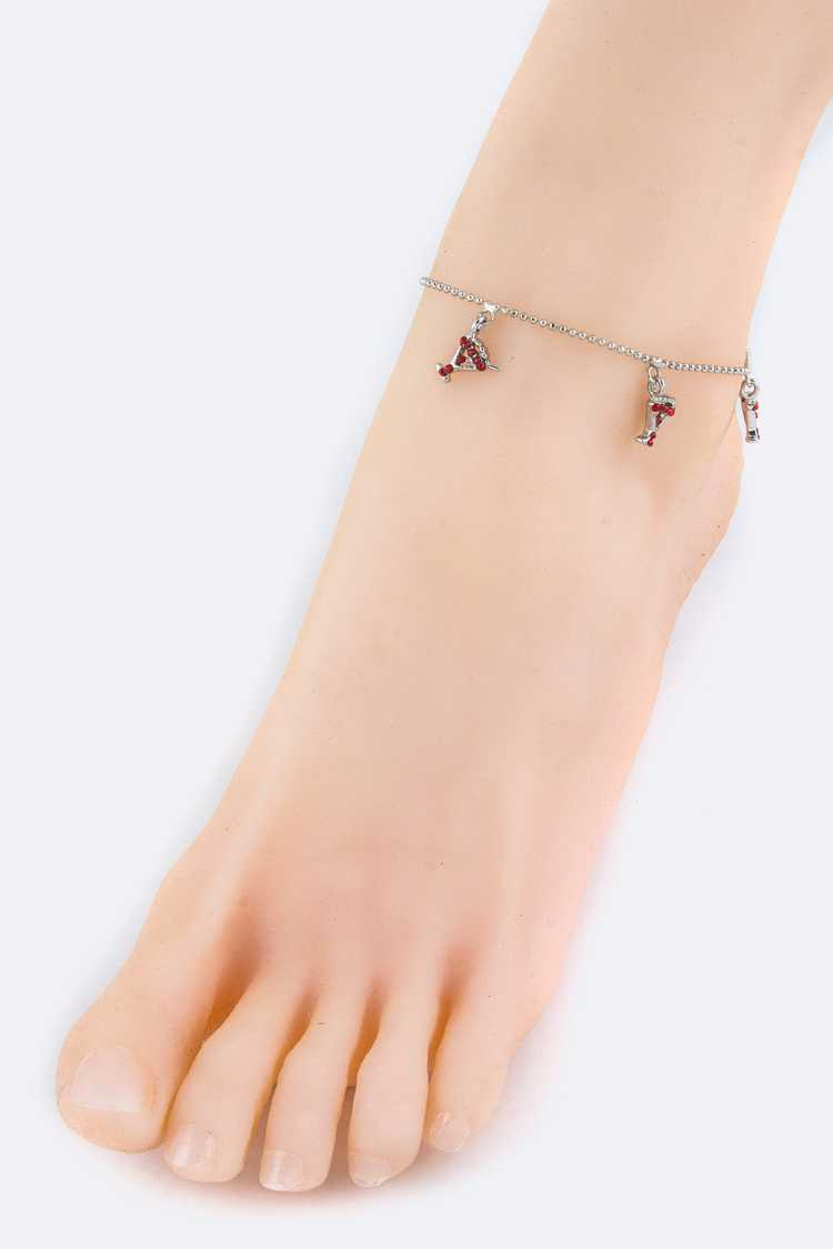 Crystal Cocktail Glass Fashion Anklet
