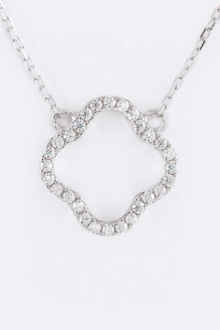 Sterling Silver & CZ Flower Pendant Necklace