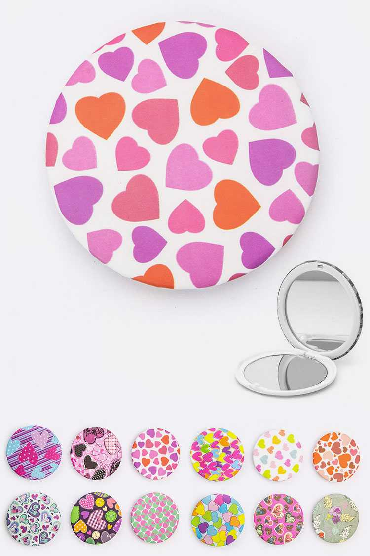 Assorted Heart Print Compact Mirrors