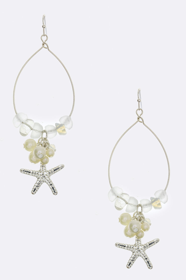 Starfish Charm & Pearl Hoop Earrings
