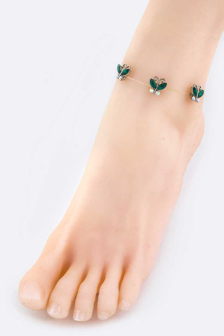 Crystal Butterfly Elastic Band Anklet