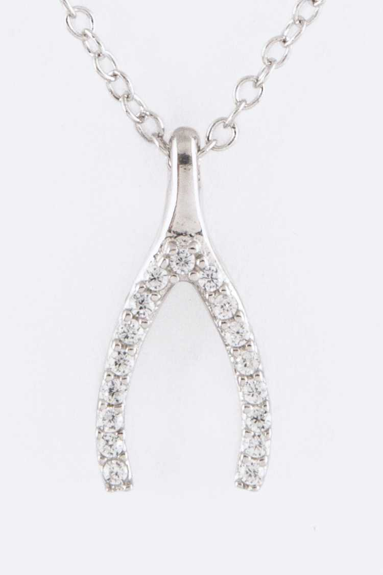 Sterling Silver & CZ Wishbone Pendant Necklace