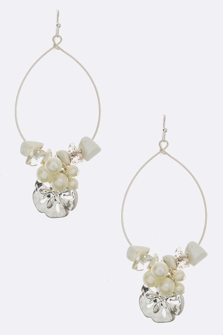 Sand Dollar Charm & Pearl Hoop Earrings