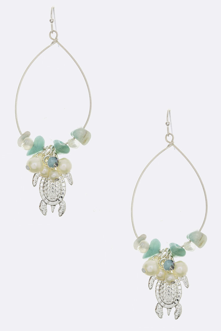 Turtle Charm & Pearl Hoop Earrings