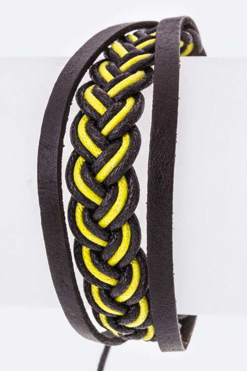 Braided Layer Drawstring Leather Bracelet