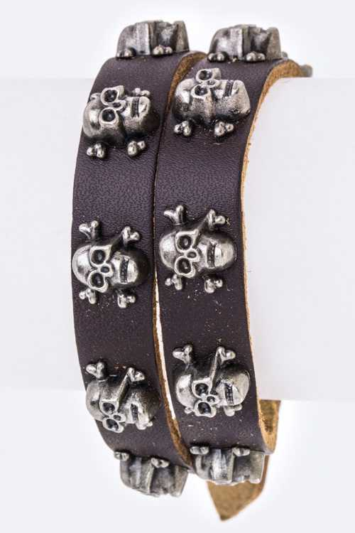 Skull Studs Wrapped Leather Cuff