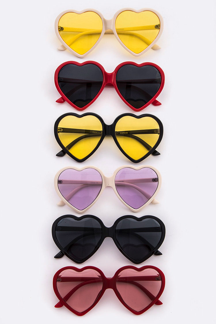 Iconic Heart Shape Color Tinted Sunglasses
