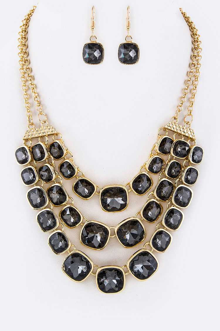 Square Crystal Layered Necklace Set