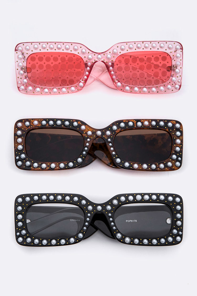 Pearl Studs Iconic Square Sunglasses