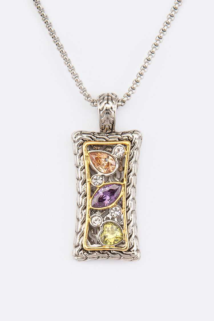 Mix Color CZ 2 Tone Pendant Necklace