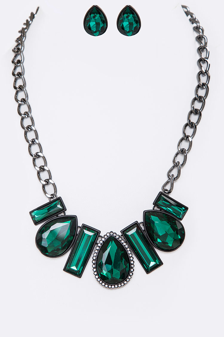 Holiday Crystal Statement Necklace Set