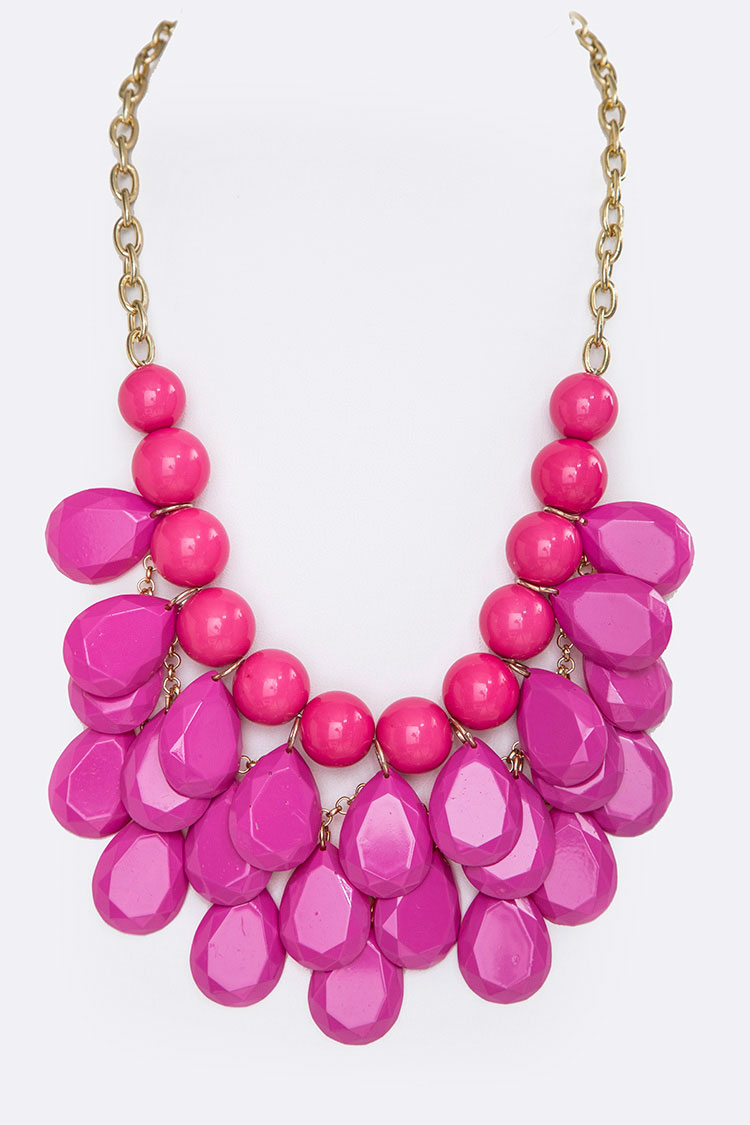 Color Coated Resin Statement Necklace
