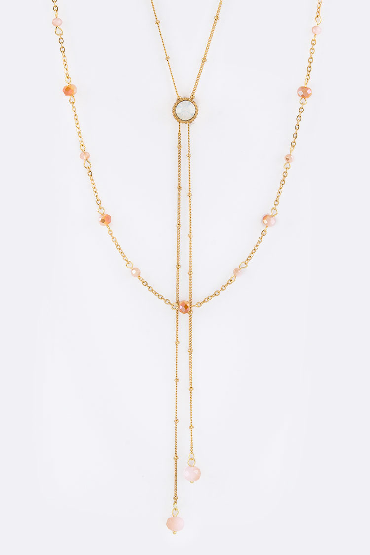 Crystal & Bead Drops Layer Necklace
