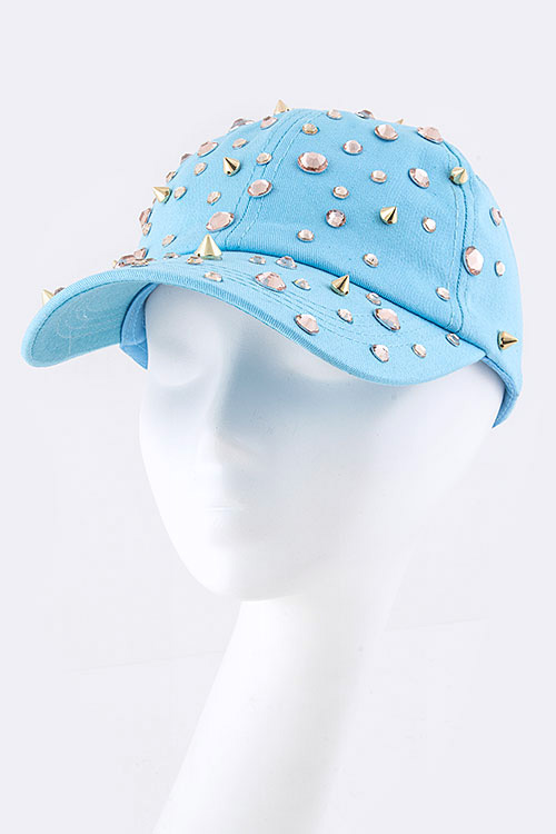 Crystal Studded Statement Fashion Cap
