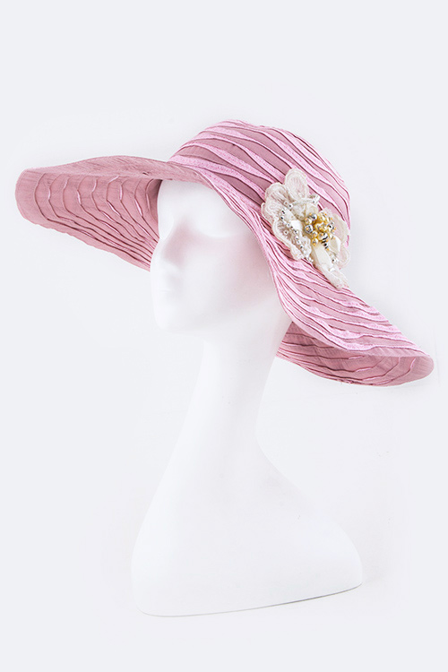 Crystal Lace Flower Iconic Sun Hat