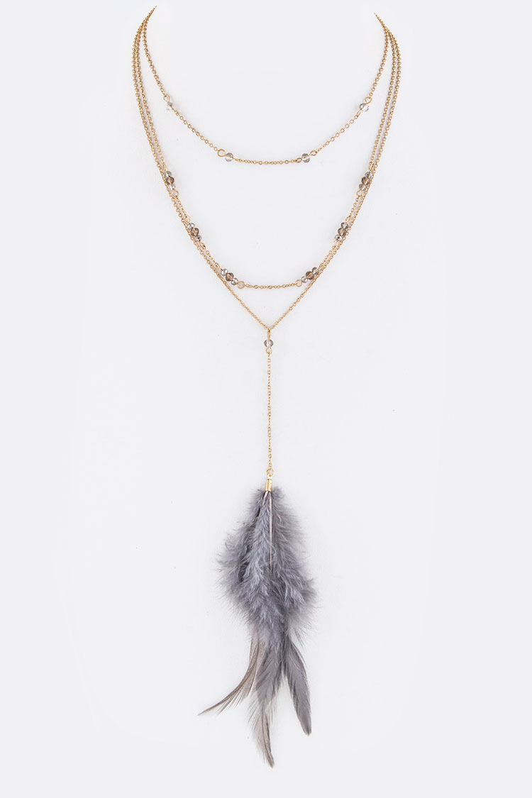 Feather Drop Layer Necklace