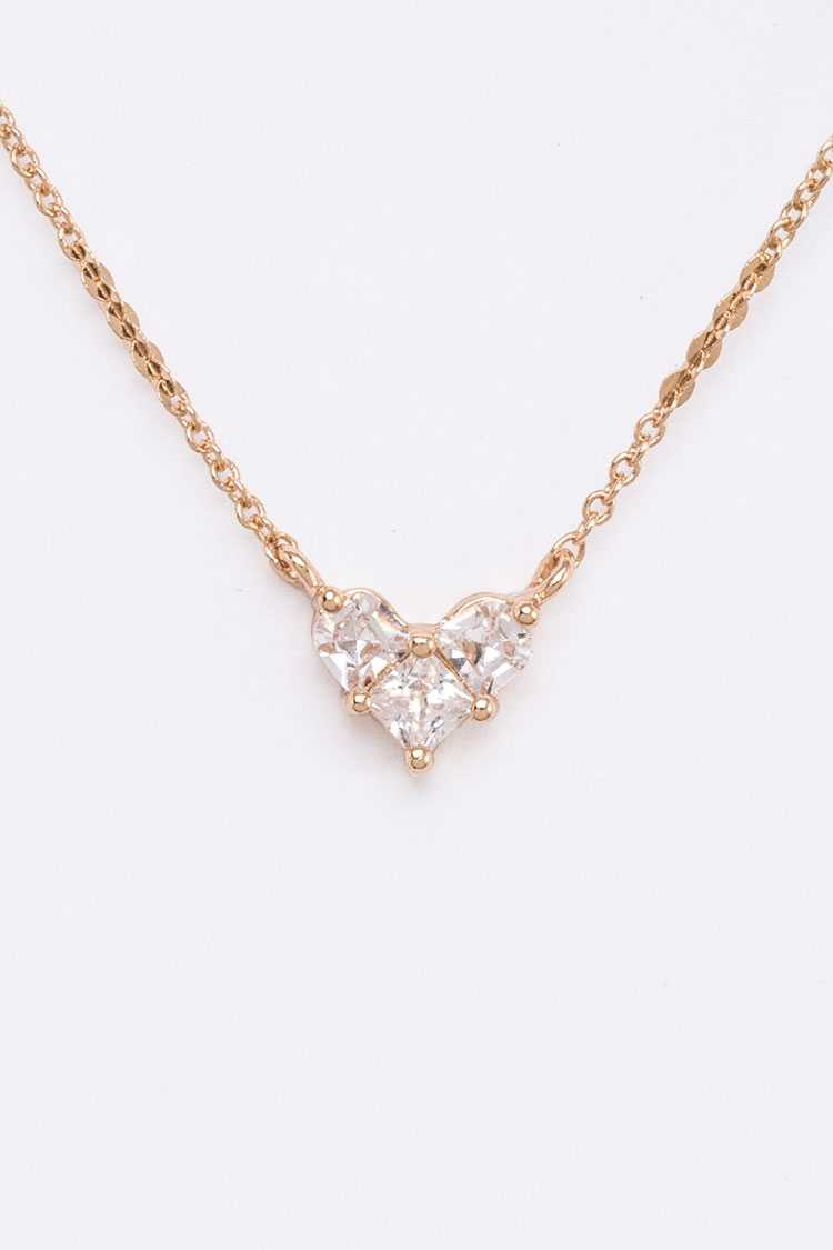 CZ Petite Heart Pendant Necklace
