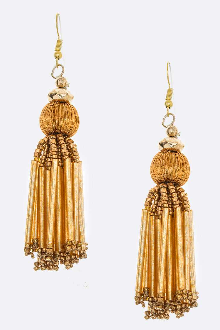 Yarn Ball & Mix Bead Tassel Earrings